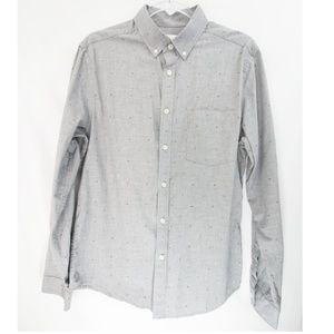 Men's Goodfellow Dot Print Gray Button Down Shirt